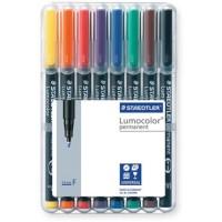 Rotulador permanente lumocolor punta de fibra blister 8 colores surtidos M