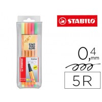 Rotulador stabilo punta de fibra point 88 5 colores surtidos neon