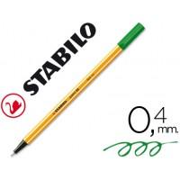 Rotulador stabilo punta de fibra point 88 verde hoja 0,4 mm