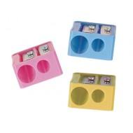 Sacapuntas mor 332 plastico rectangular 2 usos colores surtidos