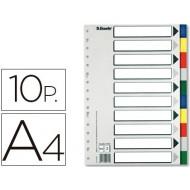 Separador esselte plastico juego de 10 separadores din a4con 5 colores multitaladro