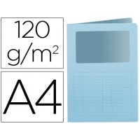 Subcarpeta cartulina q-connect din a4 azul con ventana transparente 120 gr