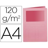 Subcarpeta cartulina q-connect din a4 rosa con ventana transparente 120 gr