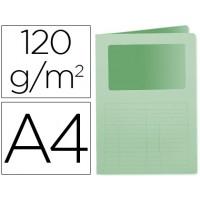 Subcarpeta cartulina q-connect din a4 verde con ventana transparente 120 gr