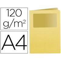 Subcarpeta cartulina q-connect din a4 amarilla con ventana transparente 120 gr