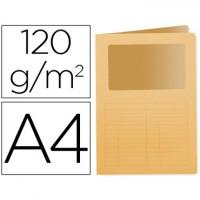 Subcarpeta cartulina q-connect din a4 naranja con ventana transparente 120 gr