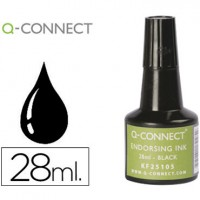 Tinta tampon q-connect negro -frasco de 28 ml.