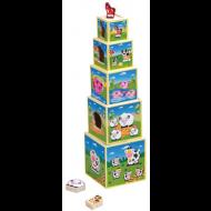 Torre de cubos apilables diseño animales