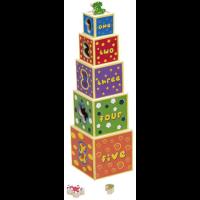 Torre de cubos apilables diseño números en inglés